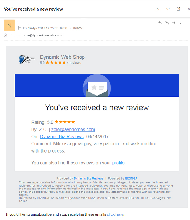 real time email review alerts